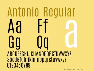 Antonio Regular Version 1.001;PS 001.001;hotconv 1.0.70;makeotf.lib2.5.58329 Font Sample