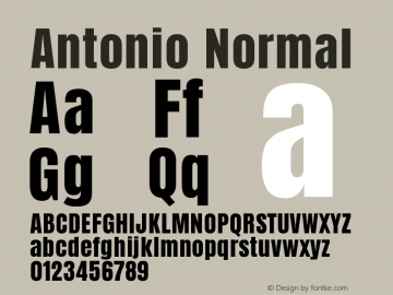 Antonio Normal Version 1.002 Font Sample