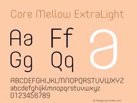 Core Mellow ExtraLight Version 1.000;wf Font Sample