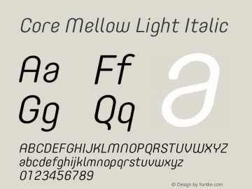 Core Mellow Light Italic Version 1.000;wf图片样张