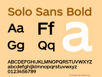 Solo Sans Bold Version 1.000;PS 001.001;hotconv 1.0.56图片样张