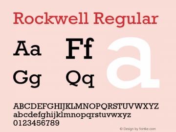 Rockwell Regular Version 1.65 Font Sample