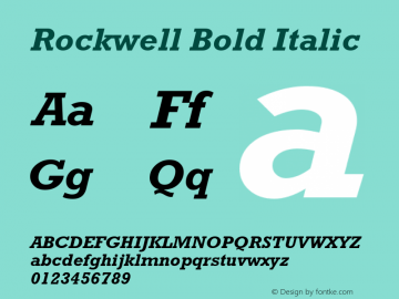 Rockwell Bold Italic Version 1.65 Font Sample
