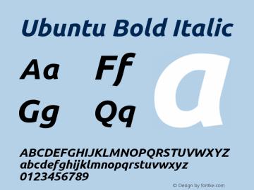 Ubuntu Bold Italic Version 0.80 Font Sample