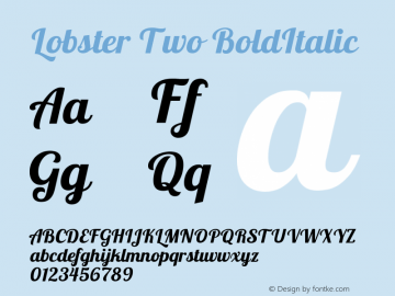 Lobster Two BoldItalic Version 1.006 Font Sample