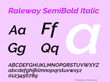 Raleway SemiBold Italic Version 3.000; ttfautohint (v0.96) -l 8 -r 28 -G 28 -x 14 -w