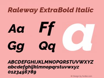 Raleway ExtraBold Italic Version 3.000; ttfautohint (v0.96) -l 8 -r 28 -G 28 -x 14 -w