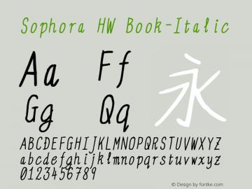 Sophora HW Book-Italic Version 4.2.8 Font Sample