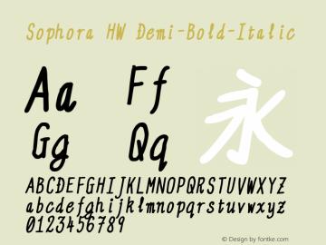 Sophora HW Demi-Bold-Italic Version 4.2.8 Font Sample