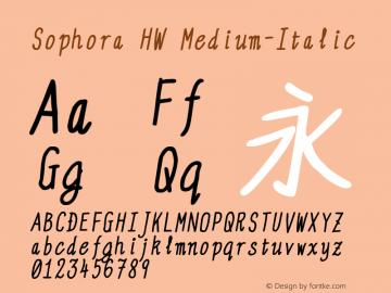 Sophora HW Medium-Italic Version 4.2.8 Font Sample