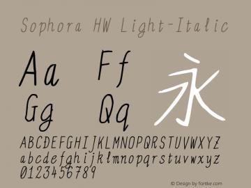 Sophora HW Light-Italic Version 4.2.8 Font Sample