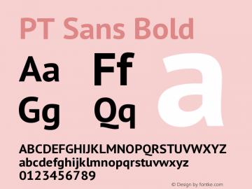 PT Sans Bold Version 1.001 Font Sample
