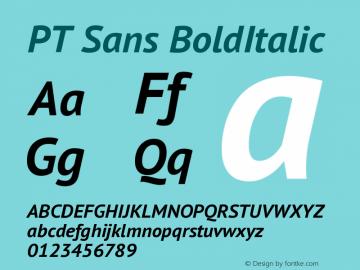 PT Sans BoldItalic Version 1.001 Font Sample