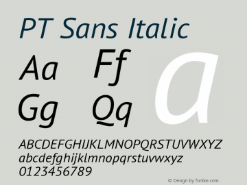 PT Sans Italic Version 1.001 Font Sample