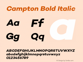 Campton Bold Italic Version 1.000;PS 001.001;hotconv 1.0.56 Font Sample