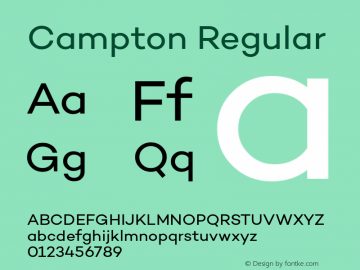 Campton Regular Version 1.000;PS 001.001;hotconv 1.0.56 Font Sample
