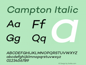 Campton Italic Version 1.000;PS 001.001;hotconv 1.0.56 Font Sample