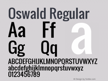 Oswald Regular Version 2.3; ttfautohint (v0.93.5-3d13) -l 8 -r 50 -G 200 -x 0 -w