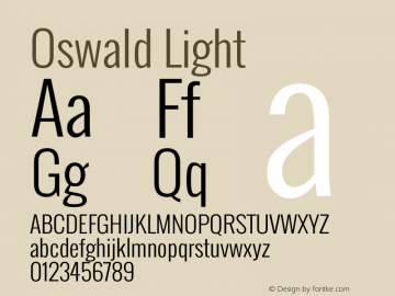 Oswald Light Version 2.002 Font Sample