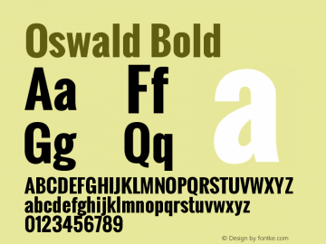 Oswald Bold Version 2.002 Font Sample
