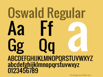 Oswald Regular Version 2.002 Font Sample