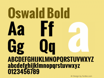 Oswald Bold Version 1.000; ttfautohint (v0.8.59-3fb0) Font Sample