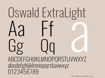 Oswald ExtraLight 3.0 Font Sample