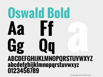 Oswald Bold Version 2.3 Font Sample