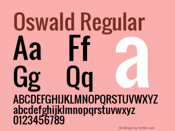 Oswald Regular Version 2.3 Font Sample