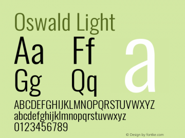 Oswald Light 3.0 Font Sample
