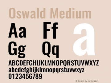 Oswald Medium 3.0 Font Sample