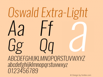 Oswald Extra-Light 3.0 Font Sample