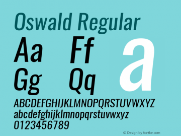 Oswald Regular 3.0 Font Sample
