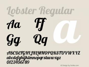 Lobster Regular Version 1.4 Font Sample