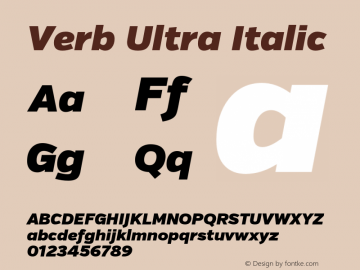 Verb Ultra Italic Version 2.002 2014 Font Sample