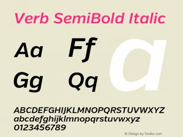 Verb SemiBold Italic Version 2.002 2014 Font Sample