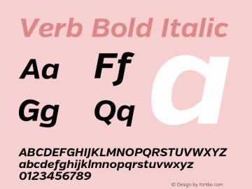 Verb Bold Italic Version 2.002 2014 Font Sample