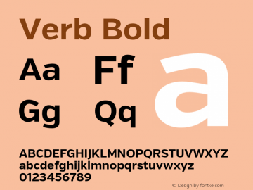 Verb Bold Version 2.002 2014 Font Sample