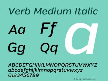 Verb Medium Italic Version 2.002 2014 Font Sample