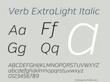 Verb ExtraLight Italic Version 2.002 2014 Font Sample
