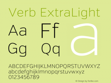 Verb ExtraLight Version 2.002 2014 Font Sample