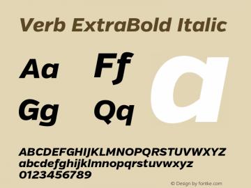 Verb ExtraBold Italic Version 2.002 2014 Font Sample