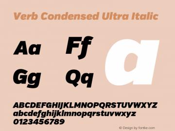 Verb Condensed Ultra Italic Version 2.002 2014 Font Sample