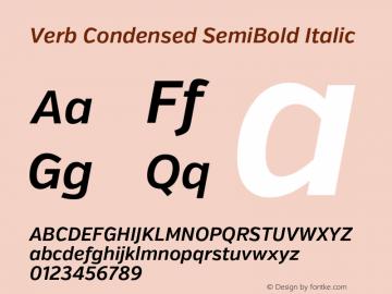 Verb Condensed SemiBold Italic Version 2.002 2014 Font Sample