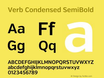 Verb Condensed SemiBold Version 2.002 2014 Font Sample
