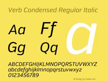 Verb Condensed Regular Italic Version 2.002 2014 Font Sample