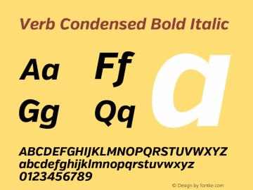 Verb Condensed Bold Italic Version 2.002 2014 Font Sample