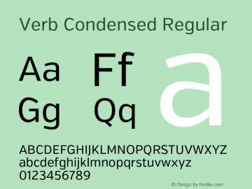 Verb Condensed Regular Version 2.002 2014 Font Sample
