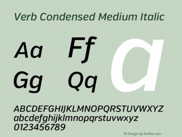 Verb Condensed Medium Italic Version 2.002 2014 Font Sample