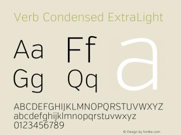 Verb Condensed ExtraLight Version 2.002 2014 Font Sample